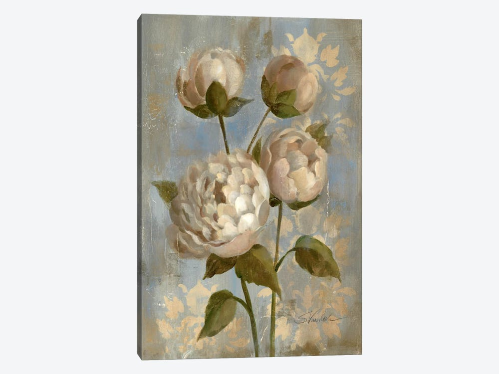 Peony on Soft Blue by Silvia Vassileva 1-piece Canvas Artwork