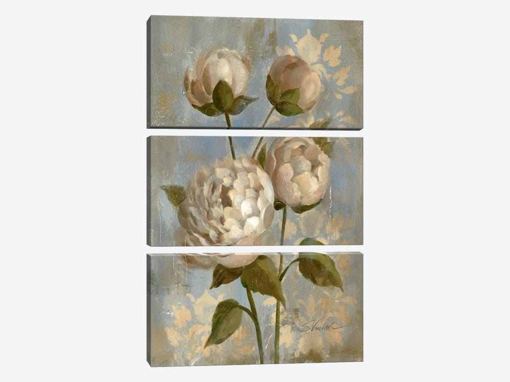 Peony on Soft Blue by Silvia Vassileva 3-piece Canvas Art