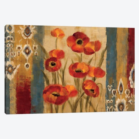 Ikat Floral Tapestry  Canvas Print #WAC1316} by Silvia Vassileva Canvas Artwork