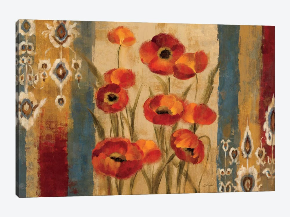 Ikat Floral Tapestry  1-piece Canvas Art Print