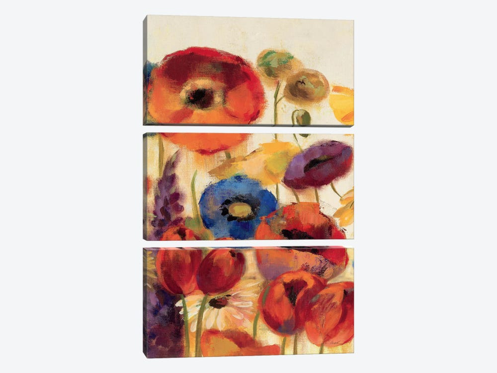 Joyful Garden Panel II by Silvia Vassileva 3-piece Canvas Print