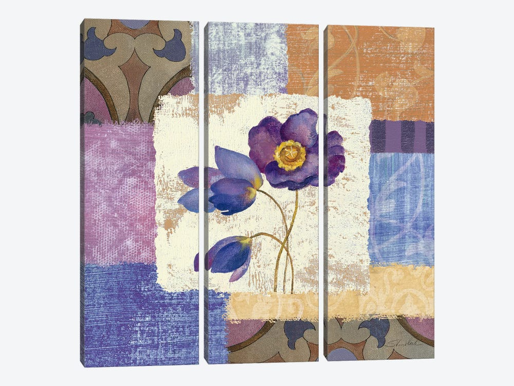 Tiled Poppies I by Silvia Vassileva 3-piece Canvas Artwork