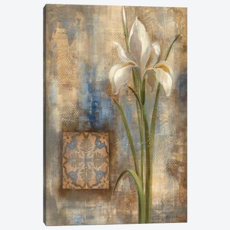 Iris and Tile Canvas Print #WAC1330} by Silvia Vassileva Art Print