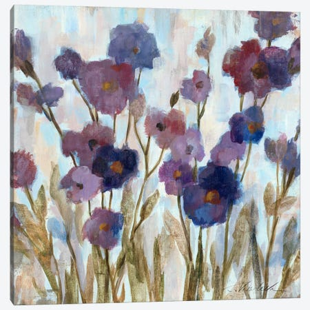 Abstracted Florals In Purple  Canvas Print #WAC1343} by Silvia Vassileva Canvas Wall Art