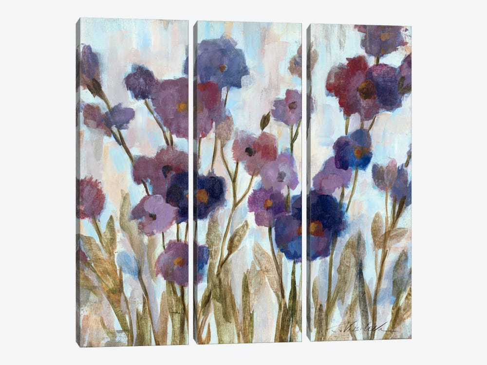 Abstracted Florals In Purple  by Silvia Vassileva 3-piece Art Print