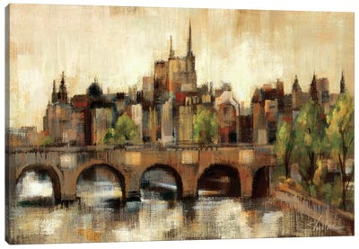 Paris Bridge II Spice  Canvas Print #WAC1353