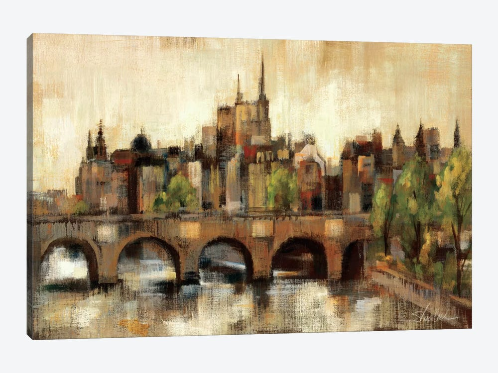 Paris Bridge II Spice  by Silvia Vassileva 1-piece Canvas Wall Art