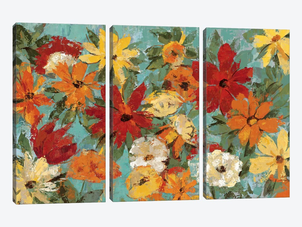 Bright Expressive Garden  by Silvia Vassileva 3-piece Canvas Wall Art