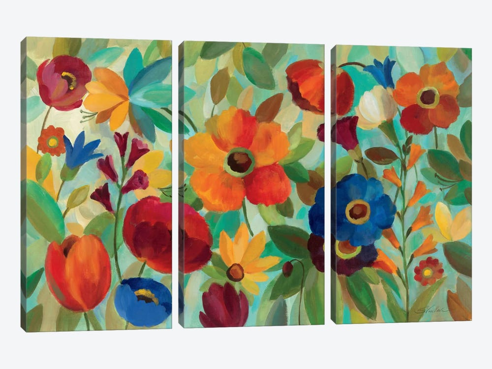 Summer Floral V by Silvia Vassileva 3-piece Canvas Wall Art