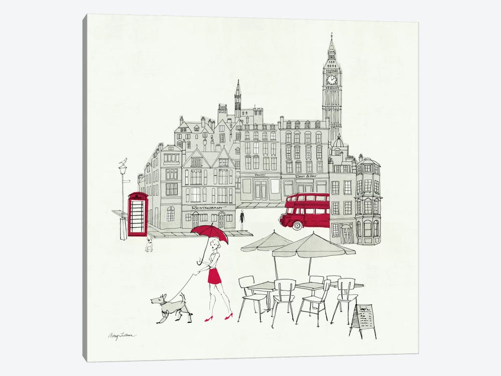World Cafe I - London Red by Avery Tillmon 1-piece Canvas Print