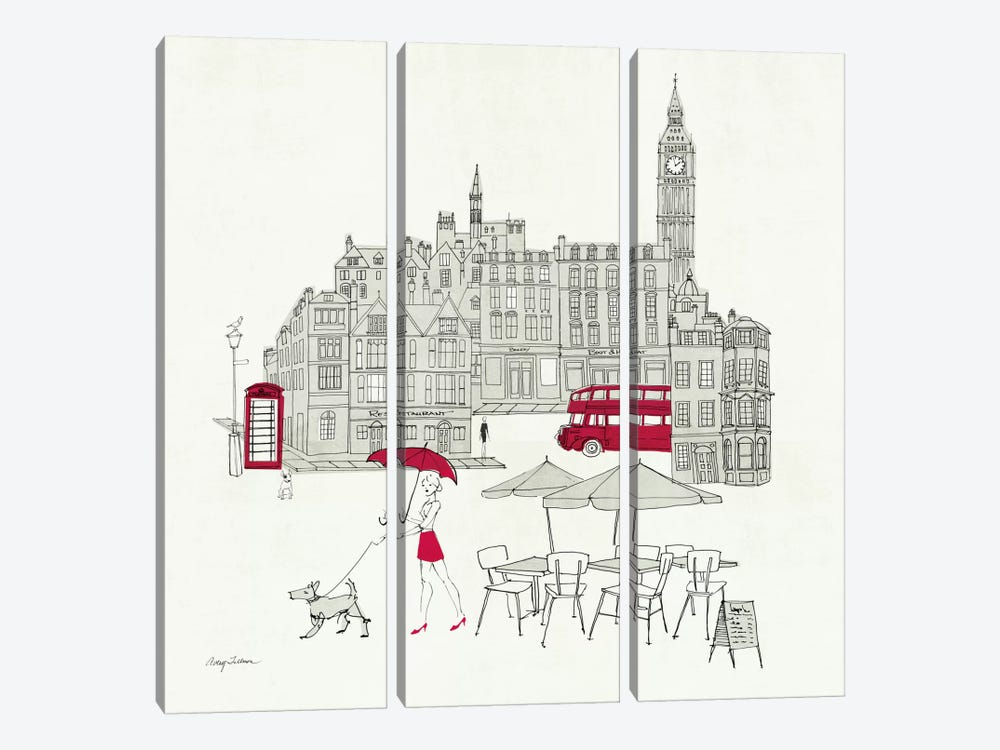 World Cafe I - London Red by Avery Tillmon 3-piece Canvas Art Print