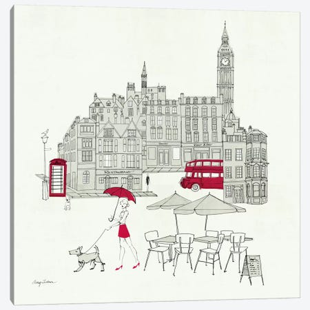 World Cafe I - London Red Canvas Print #WAC139} by Avery Tillmon Canvas Art