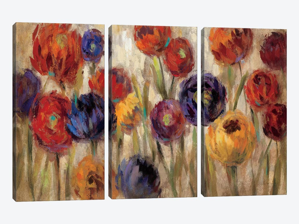 Asters and Mums  by Silvia Vassileva 3-piece Canvas Art
