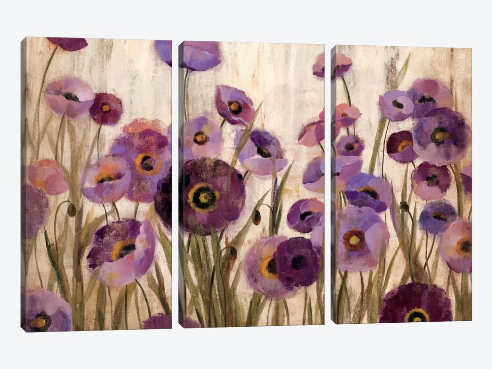 Pink and Purple Flowers  by Silvia Vassileva 3-piece Canvas Wall Art