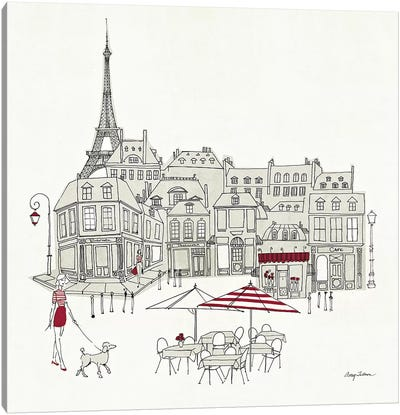 World Cafe II - Paris Red Canvas Print #WAC140
