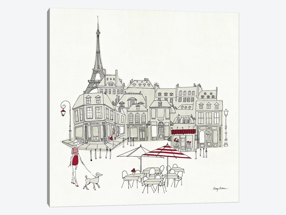 World Cafe II - Paris Red 1-piece Art Print
