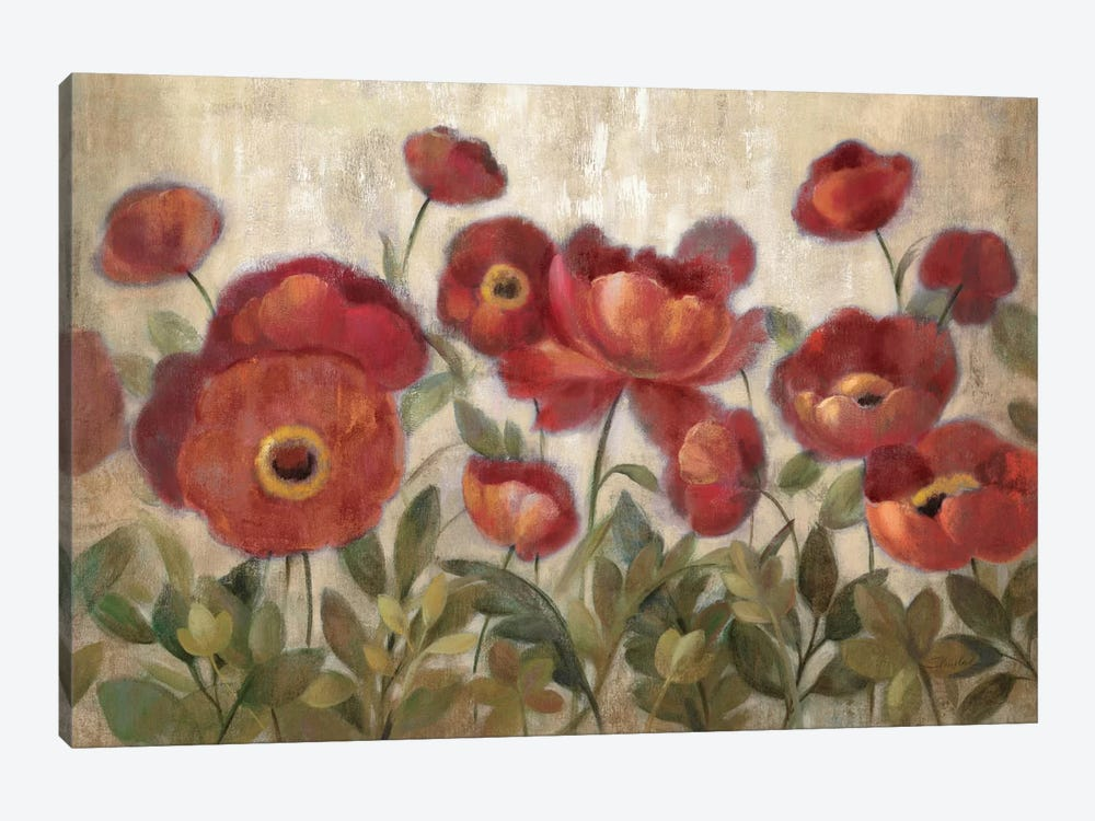 Daydreaming Flowers Red  by Silvia Vassileva 1-piece Canvas Art Print