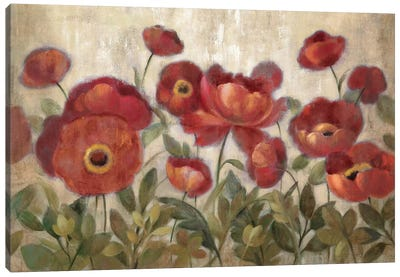 Daydreaming Flowers Red Canvas Art Print