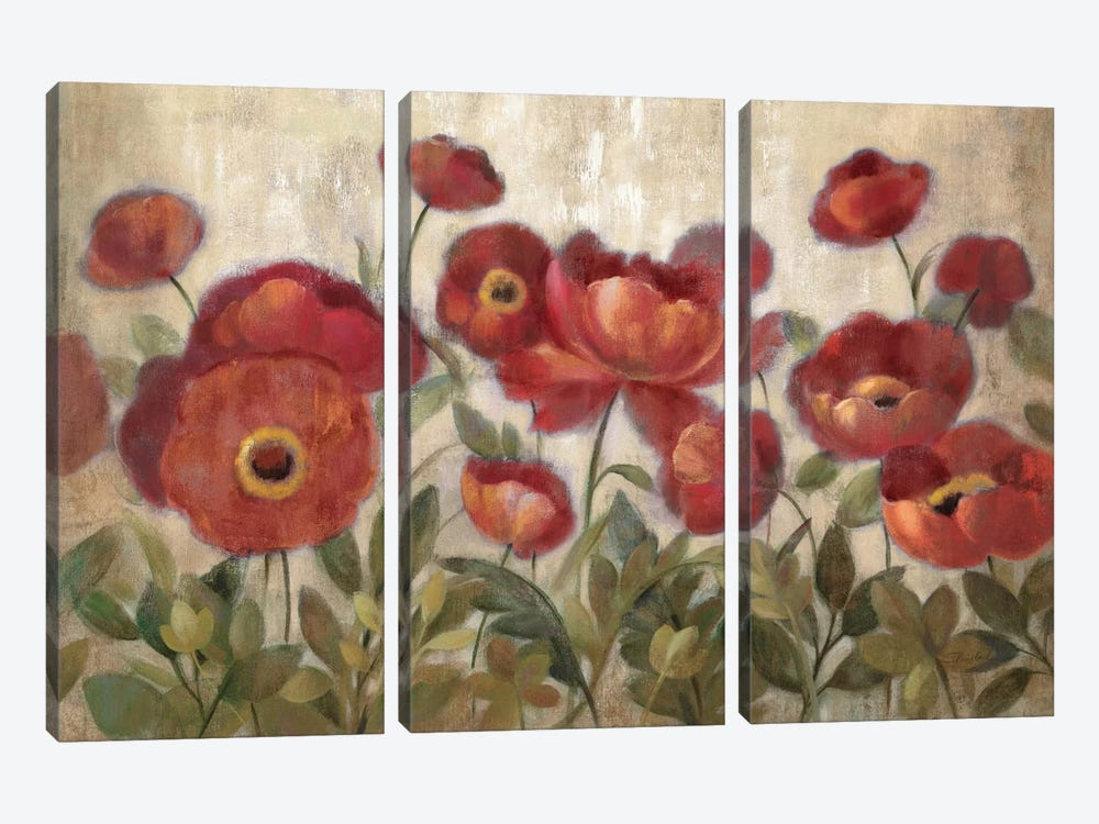 Daydreaming Flowers Red  by Silvia Vassileva 3-piece Art Print