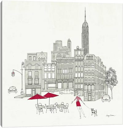World Cafe III - NYC Red Canvas Print #WAC141