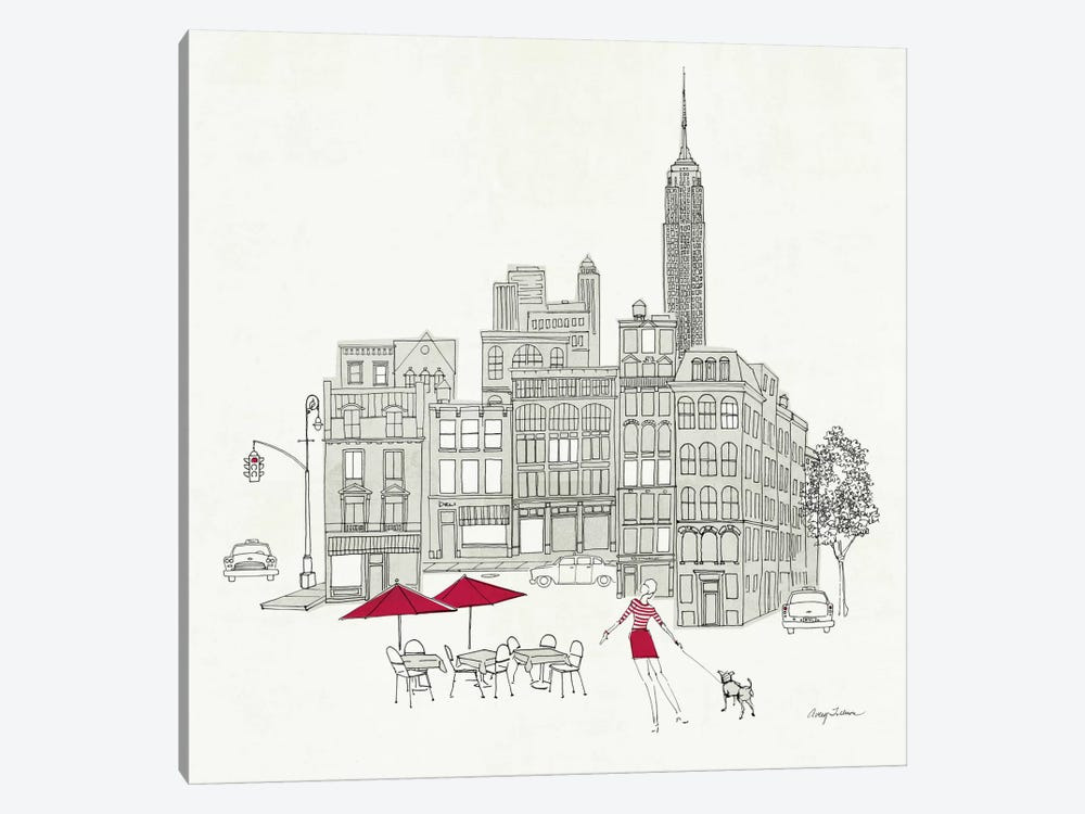 World Cafe III - NYC Red by Avery Tillmon 1-piece Canvas Wall Art