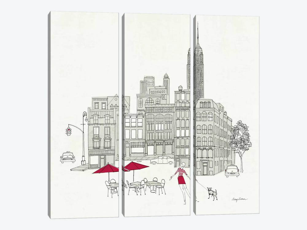 World Cafe III - NYC Red by Avery Tillmon 3-piece Canvas Wall Art