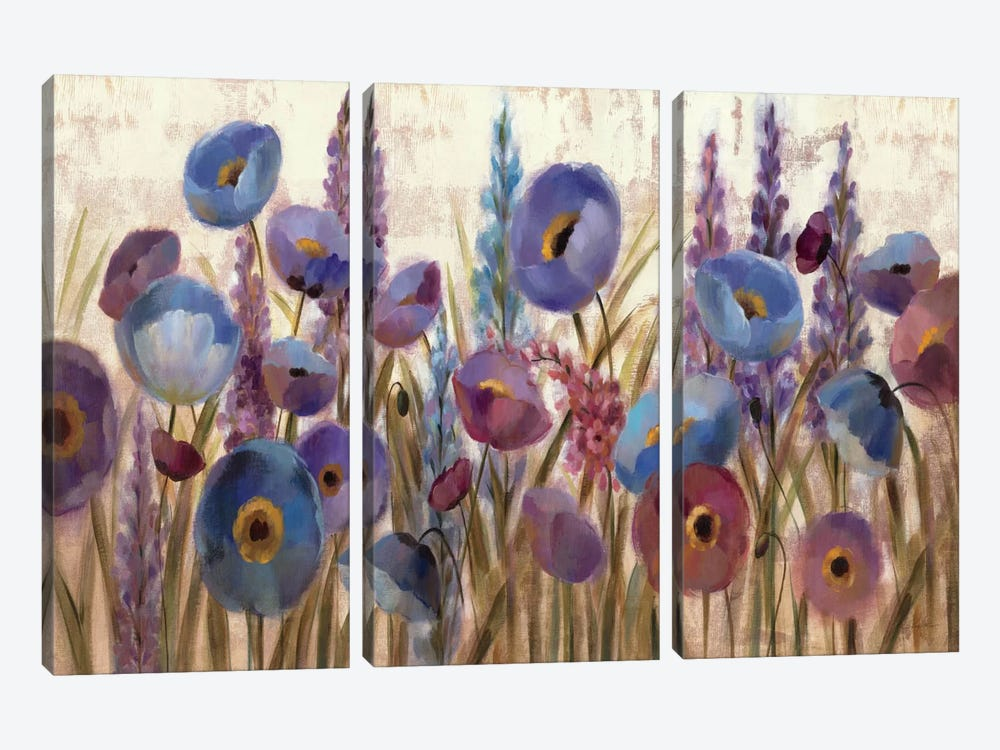 Lupines and Poppies  by Silvia Vassileva 3-piece Canvas Art