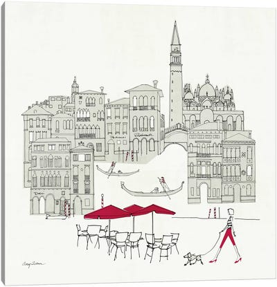 World Cafel IV - Venice Red Canvas Art Print