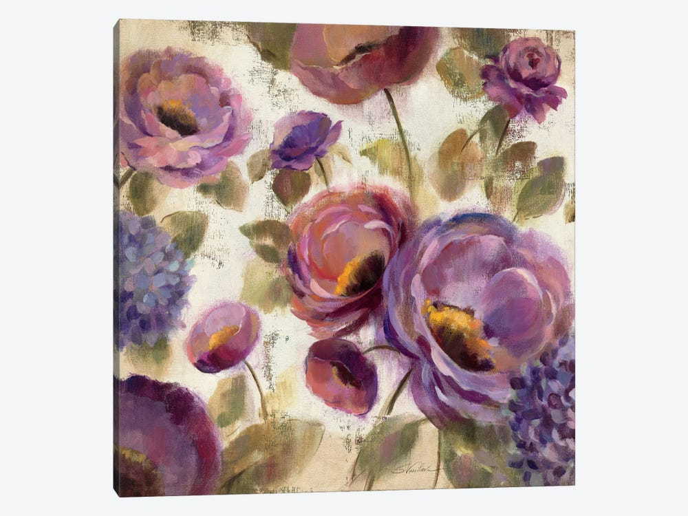 Blue and Purple Flower Song II  by Silvia Vassileva 1-piece Canvas Wall Art