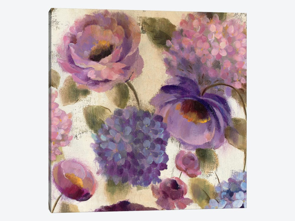Blue and Purple Flower Song III  by Silvia Vassileva 1-piece Canvas Art Print