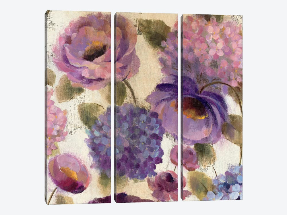 Blue and Purple Flower Song III  by Silvia Vassileva 3-piece Canvas Art Print