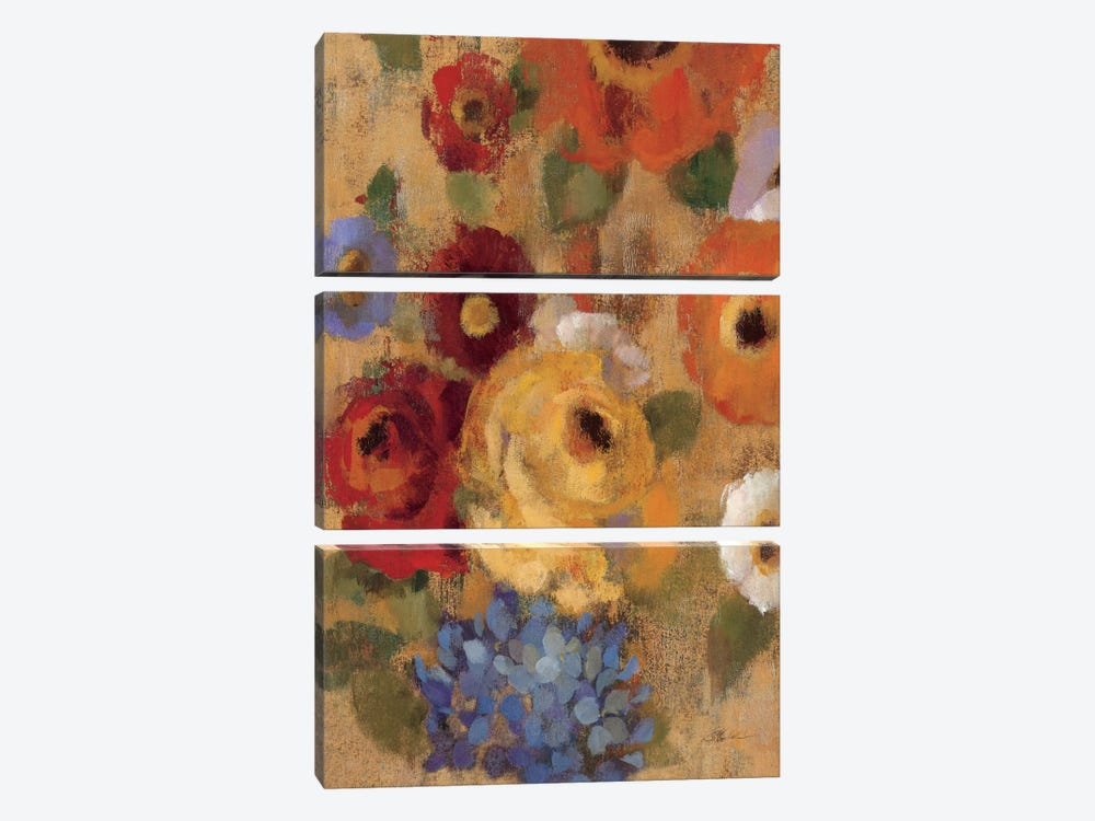Jacquard Floral I Crop by Silvia Vassileva 3-piece Canvas Art