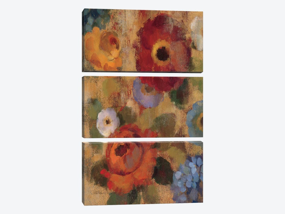 Jacquard Floral II by Silvia Vassileva 3-piece Canvas Print