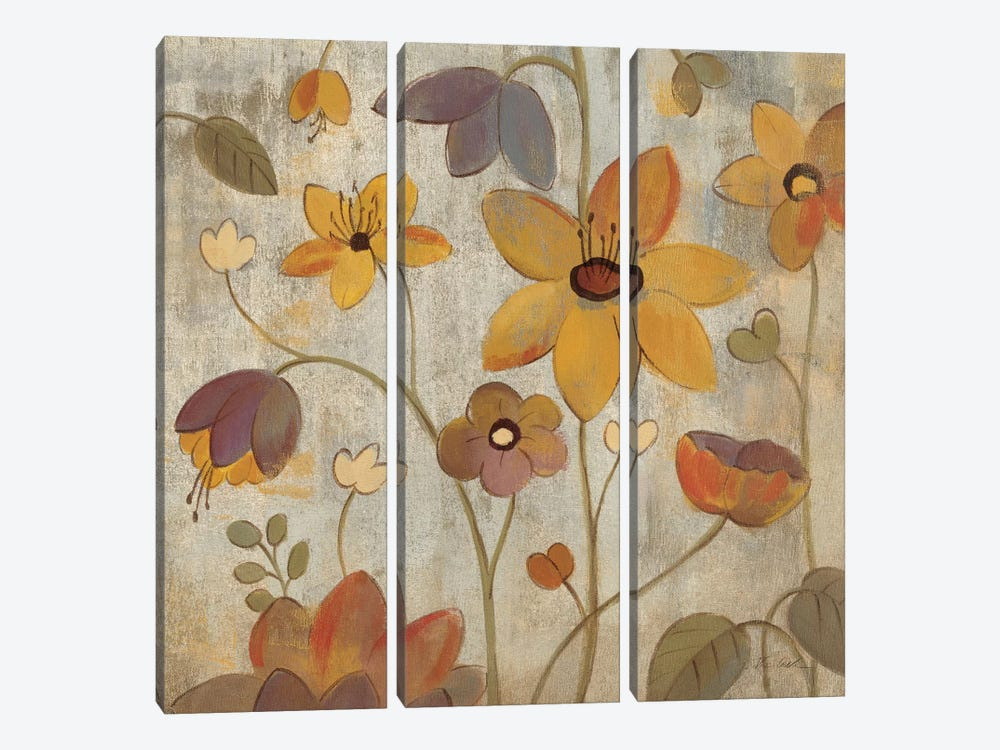Floral Song III  by Silvia Vassileva 3-piece Canvas Wall Art