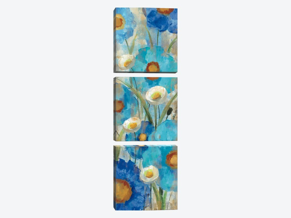Sunkissed Blue and White Flowers I by Silvia Vassileva 3-piece Canvas Art
