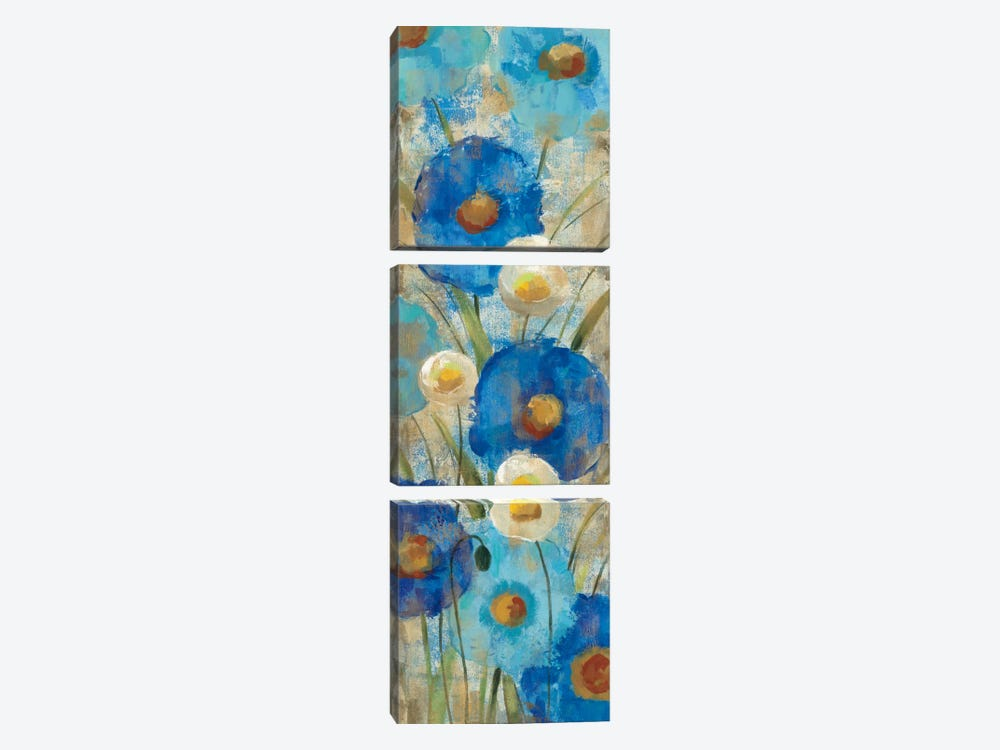 Sunkissed Blue and White Flowers II by Silvia Vassileva 3-piece Canvas Art Print