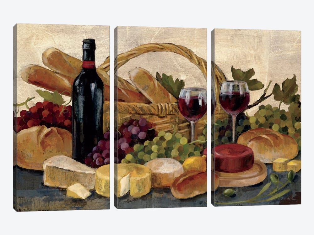 Tuscan Evening Wine  by Silvia Vassileva 3-piece Canvas Print