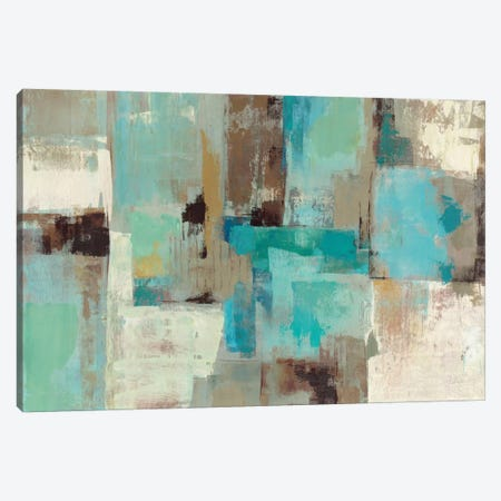 Teal and Aqua Reflections #2 Canvas Print #WAC1467} by Silvia Vassileva Canvas Artwork