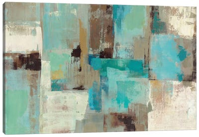 Teal and Aqua Reflections #2 by Silvia Vassileva Canvas Artwork