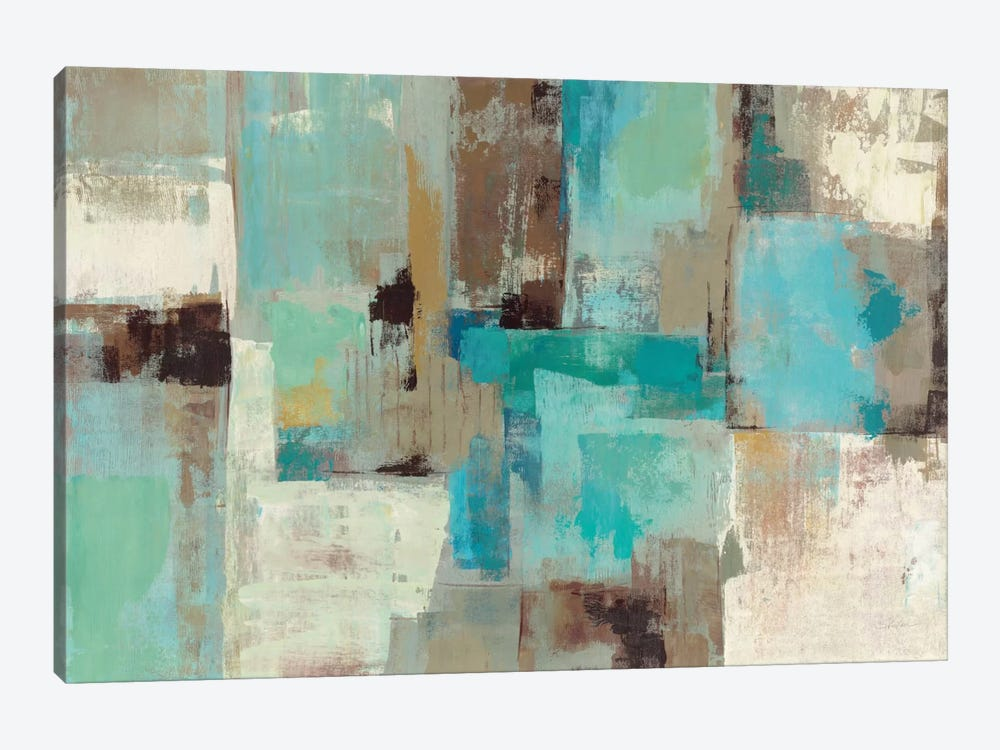 Teal And Aqua Reflections 2 Canvas Art Print By Silvia