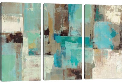 Teal and Aqua Reflections #2 Canvas Art Print