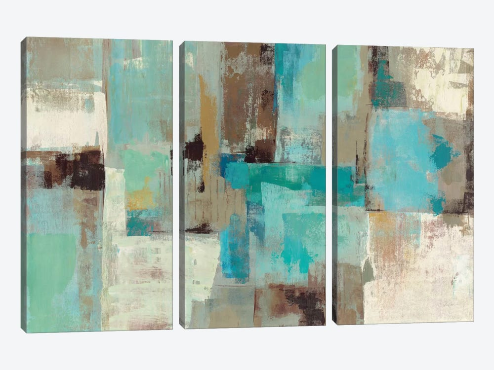 Teal and Aqua Reflections #2 3-piece Canvas Art