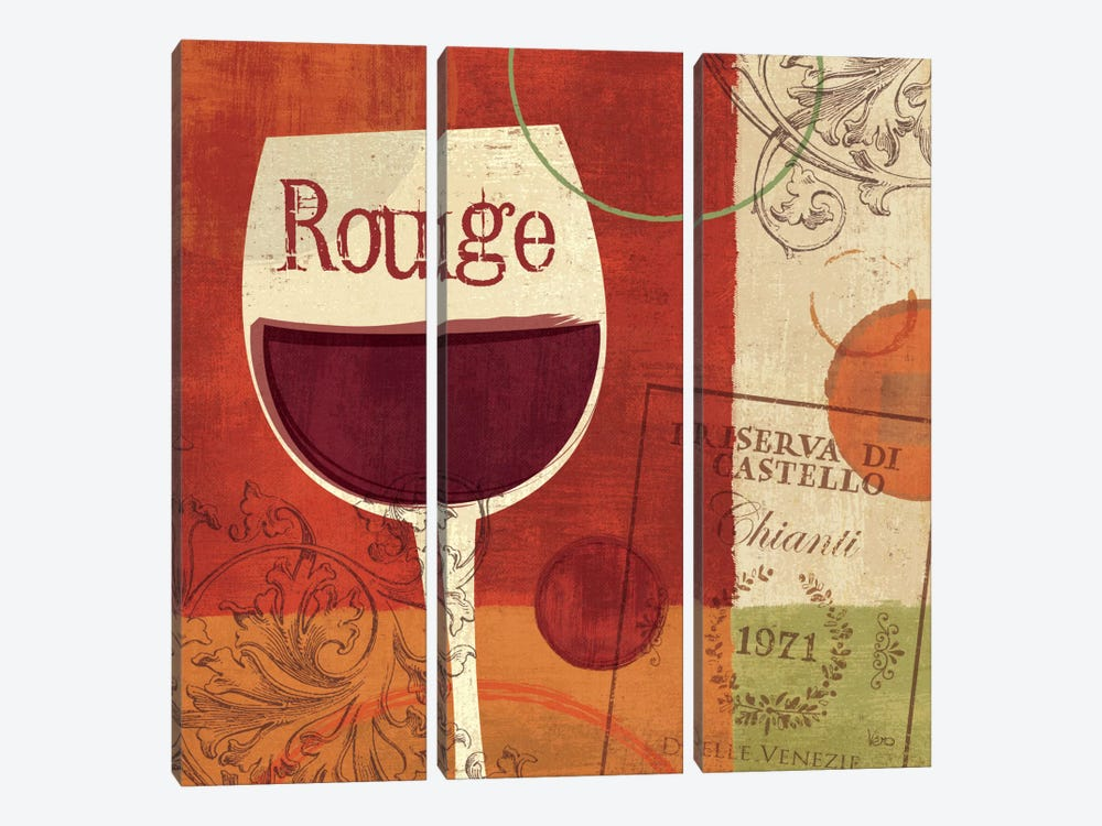 Cheers! Rouge by Veronique 3-piece Canvas Print