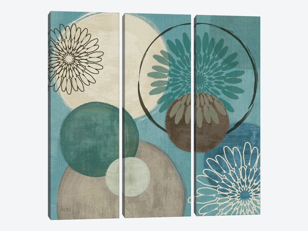 Flora Mood I - Blue by Veronique 3-piece Canvas Artwork