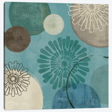 Flora Mood II - Blue Canvas Print #WAC1536} by Veronique Canvas Artwork