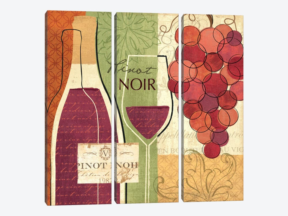 Wine and Grapes I by Veronique 3-piece Canvas Wall Art