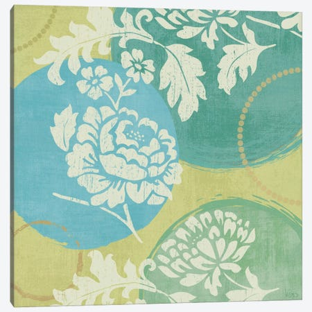 Floral Decal Turquoise I  Canvas Print #WAC1541} by Veronique Canvas Art
