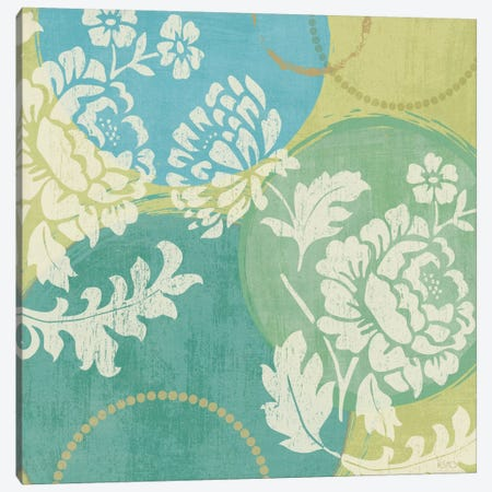 Floral Decal Turquoise II  Canvas Print #WAC1542} by Veronique Canvas Artwork