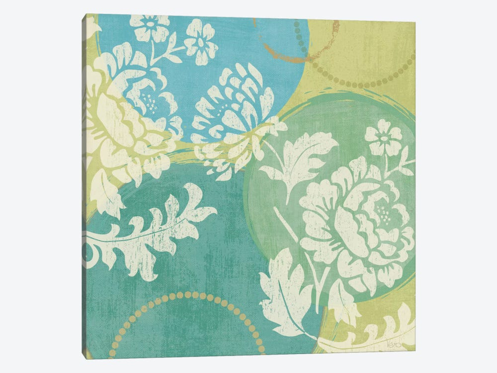 Floral Decal Turquoise II by Veronique 1-piece Canvas Wall Art