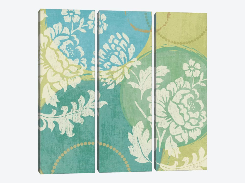 Floral Decal Turquoise II by Veronique 3-piece Canvas Artwork